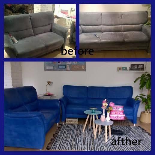 foto 3 : mijn lievelings project, mijn oude bankstel heb ik napoleonie blue geverfd en dan met clear wax Groetjes Shahaia www.shabbytreats.com