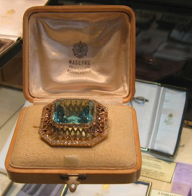 FABERGE Siberian Aquamarine & Diamond Brooch-a gift from Nicholas II to Alexandra which she was wearing right up until the time of her murder July 17, 1918.