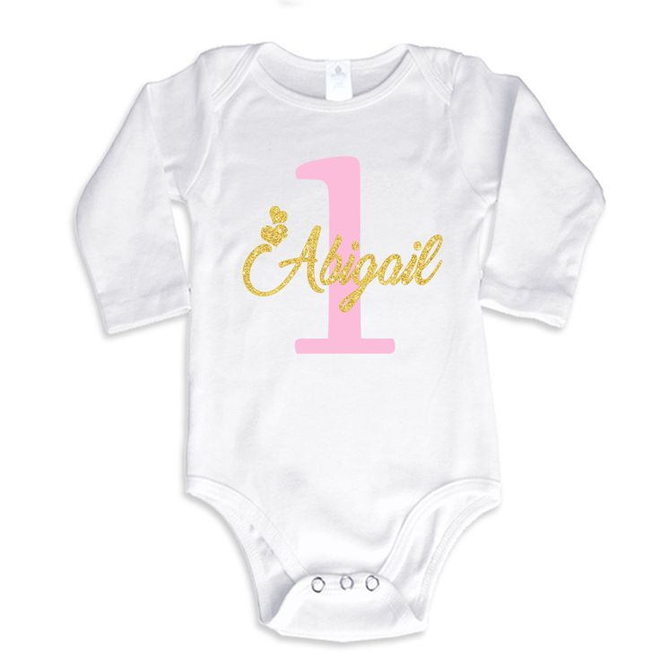 1st Birthday Girl T-Shirt Glitter Gold Name and Pink Age Personalized Long Sleeve Bodysuit by bodysuitsbynany on Etsy