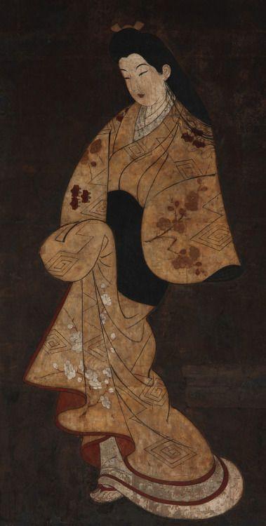 japaneseaesthetics:  Standing figure of a girl. Painting. 18th century, Japan.. Gift of Charles Lang Freer . Freer Gallery of Art and Arthur M. Sackler Gallery