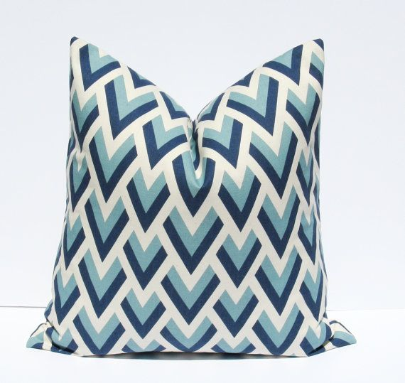 Decorative Throw Pillows. Euro Pillow Sham ONE 24x24 Blue Chevron Pillow printed fabric on front and back Floor Cushion Throw Pillow Covers