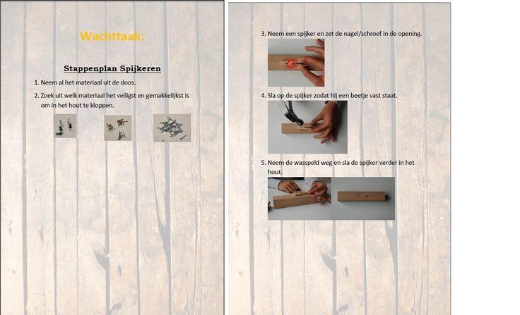 Dit is het stappenplan van 1 opdracht binnen de hoek (de wachttaak): spijkeren. De leerlingen gaan aan het werk met spijkers en schroeven. Ze krijgen ook een manier aangeboden om veilig te spijkeren.