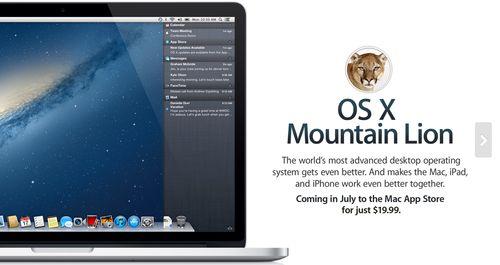 OS X Mountain Lion Coming Next Month 19.99 Mac ipad, Os