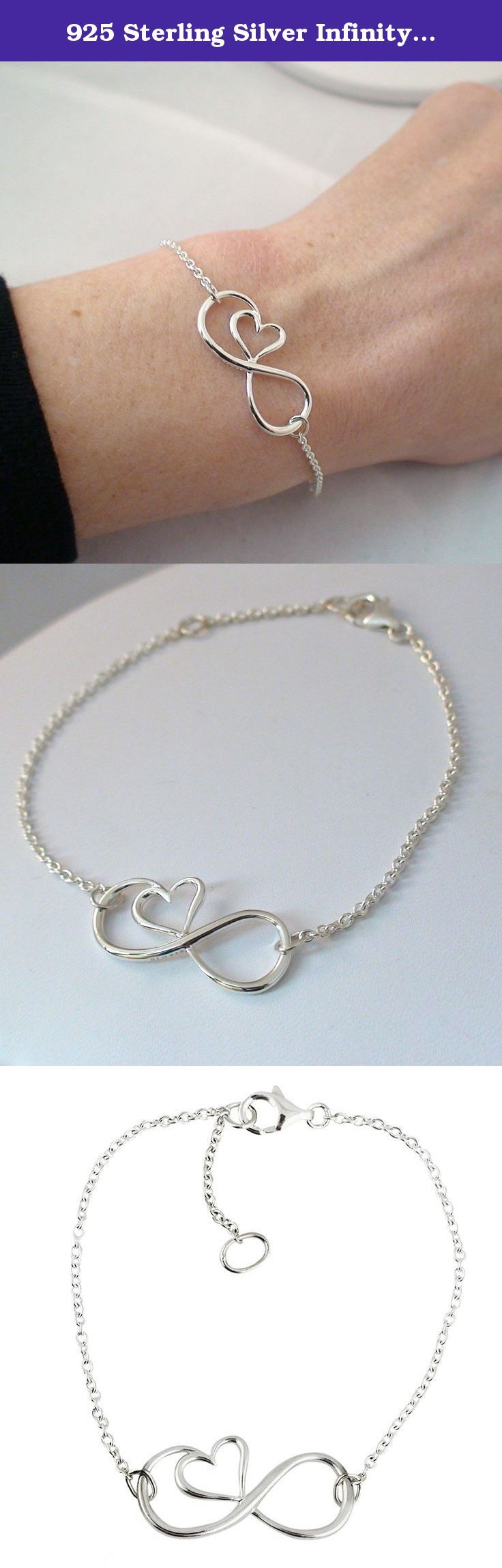 """925 Sterling Silver Infinity Sign with Heart Bracelet, 8 Inches. Materials: Infinity Heart bracelet is made of genuine 925 sterling silver. Dimensions: Infinity sign measures 14 mm x 29 mm (9/16"""" x 1 1/8"""") Infinity Heart bracelet features a 7 inch chain with a 1"""" extension for a total of 8 inches. Bracelet comes in a gift box. ."""