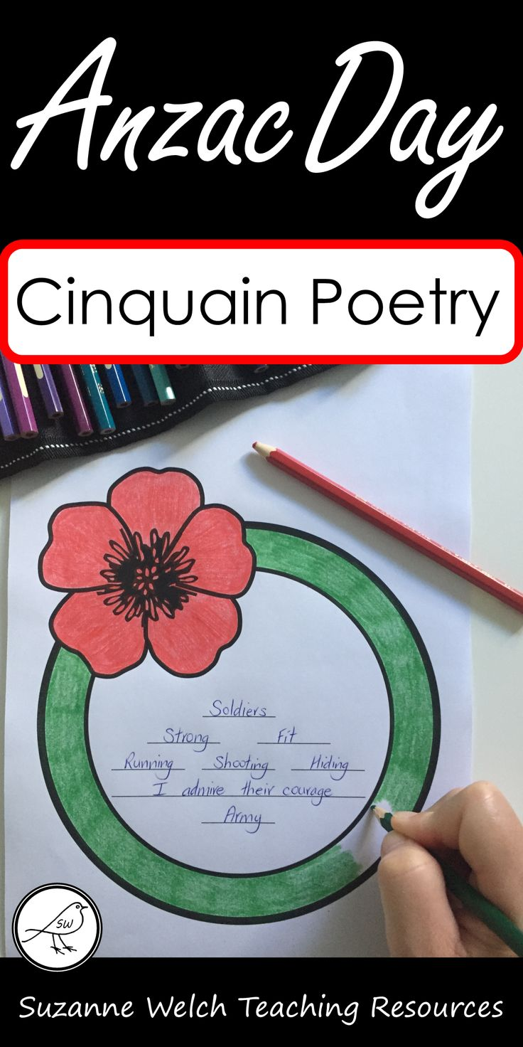 Cinquain poetry writing templates suitable for Anzac Day or other war remembrance days.  Five different styles of the poppy.  Poem framework includes nouns, adjectives, verbs, phrase and synonym.  Click to find out more.  #anzacday #anzacclassroom #warremembrance #poetrywriting #newzealandclassroom