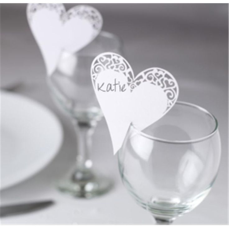 Place Card On Glass Laser Cut Heart 10 Pack | Hobbycraft #weddingtable #namecard #placecard