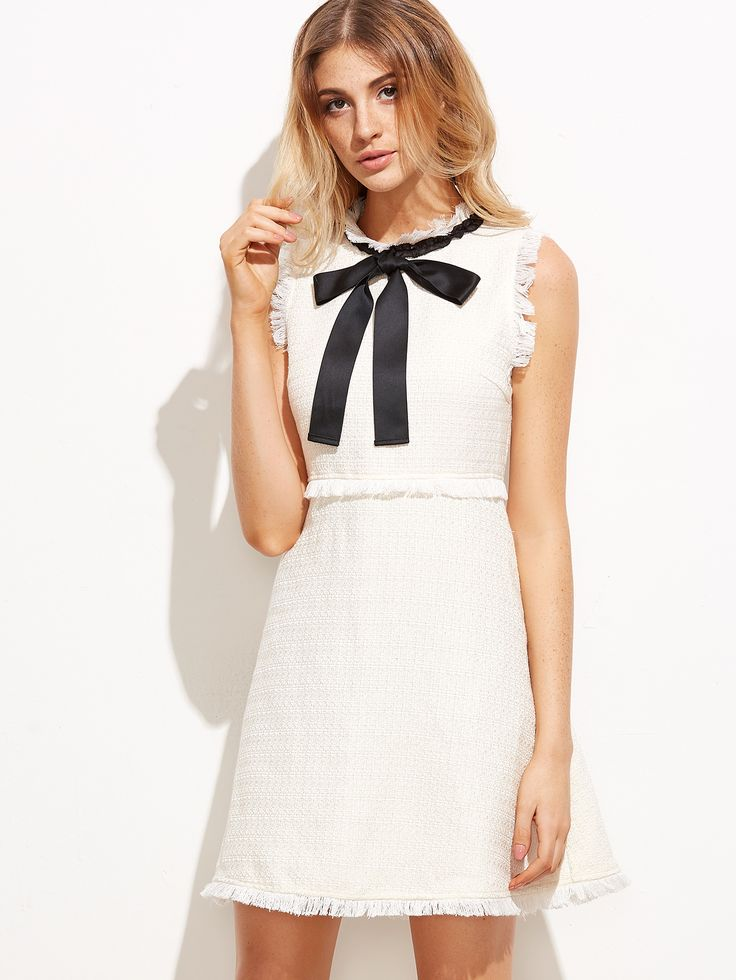 White+Bow+Tie+Neck+Frayed+Trim+Tweed+Dress+22.90