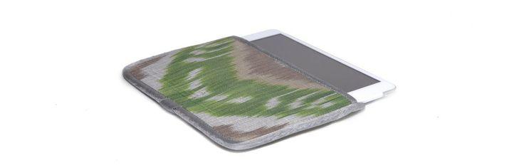 Чехол для Apple iPad Mini, зеленый с бежевым в серебристой окантовке