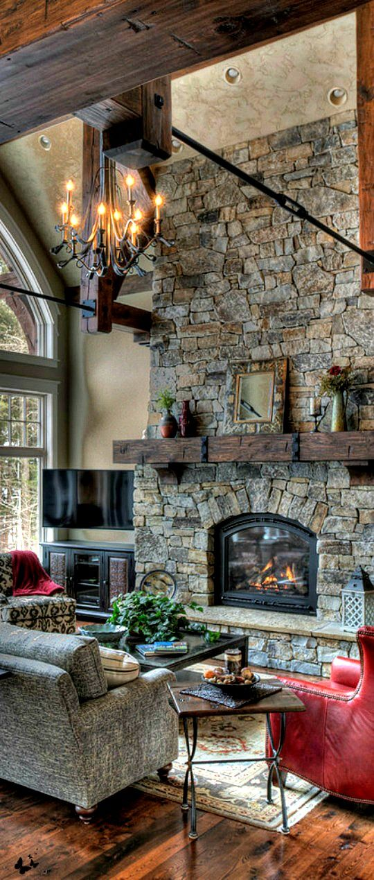 rustic comfort living room http://www.deliciousdecors.com - 17 Best Ideas About Stone Fireplaces On Pinterest Stone Veneer