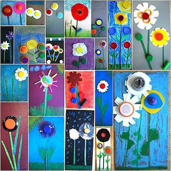 Idees per a tapes de primavera (collage de flors amb taps de plàstic)