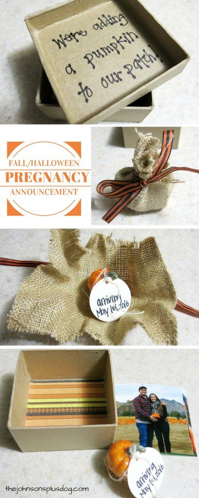 Fall Pregnancy Announcement | DIY Halloween Pregnancy Announcement to mail to friends and fall | How to tell you family you're pregnant in the fall | Halloween pregnancy announcement | Pumpkin pregnancy announcement | We're adding a pumpkin to our patch