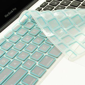 Amazon.com: TopCase New Arrival Aqua Blue Silicone Keyboard Cover Skin for Macbook Unibody Whtie 13-Inch/Macbook Pro Aluminum Unibody 13, 15, 17-Inches with or without Retina Display/Macbook Air 13-Inch/Old Macbook White 13-Inch/Wireless Keyboard with Logo Mouse Pad: Computers & Accessories