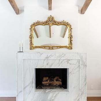 Marble Fireplace with Gold Baroque Mirror