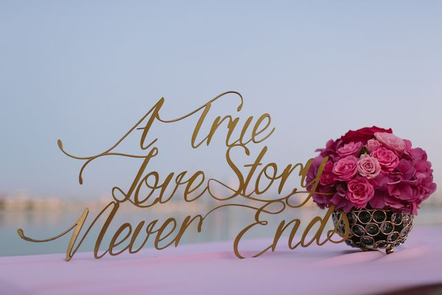 Laser cut love quote for wedding | Joem Aldea Photography for The Wedding and Event Institute Arabian Campus