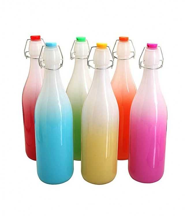 Favola 1000 Ml Glass Bottle With Air Tight Cap - (Set Of 6)