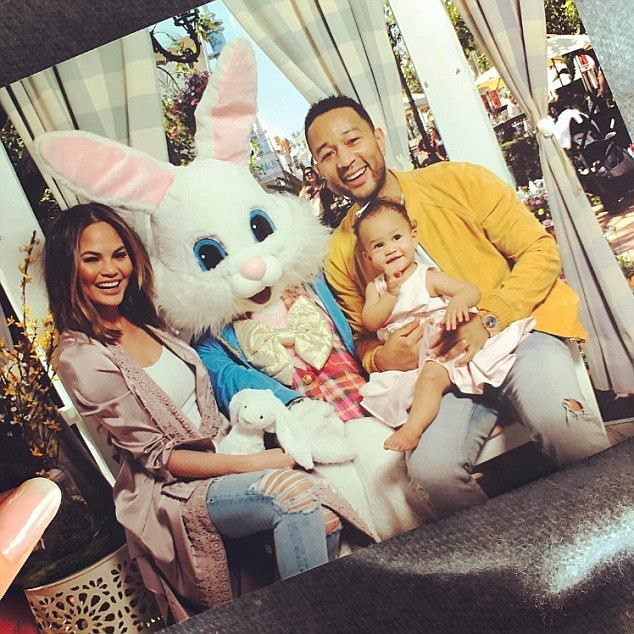 Think pink: Chrissy Teigen and John Legend took their daughter Luna to meet the Easter Bun...