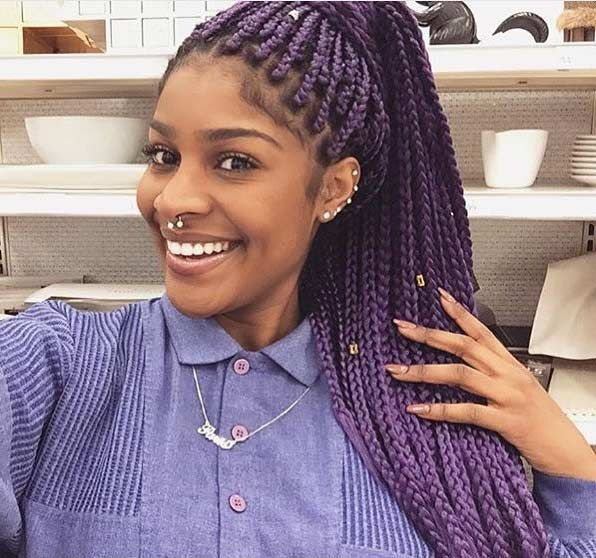 Purple Box Braids Ponytail