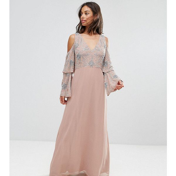 Maya Petite All Over Embellished Top Maxi Dress (215 SAR) ❤ liked on Polyvore featuring dresses, petite, pink, pink sequin dress, cold shoulder cocktail dress, beaded cocktail dress, v neck maxi dress and petite cocktail dress