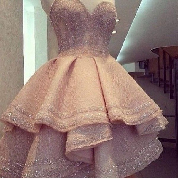 Dress: lace glitter strapless pink pale pink hot pink, sparkly, bedazzled prom 2014