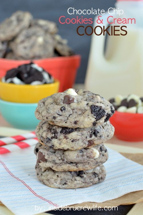 Cookies are filled with chocolate chips and Oreo cookies