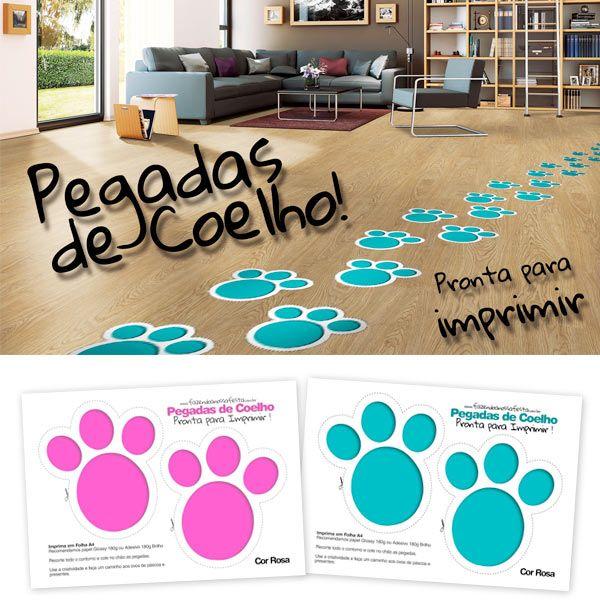 Bunny Foot Prints---- Que tal fazer um surpresa para seu filho? Use as Pegadas de Coelho para Imprimir e usar na sua casa, seus filhos vão adorar