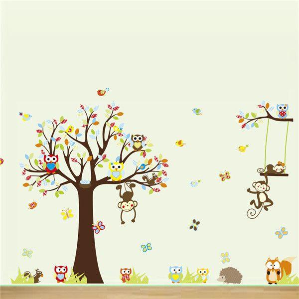 Vendita calda grande funny cartoon foresta scoiattolo animale scimmia owls albero autoadesivi della parete del vinile murale della decalcomania per la camera dei bambini home decor(China (Mainland))