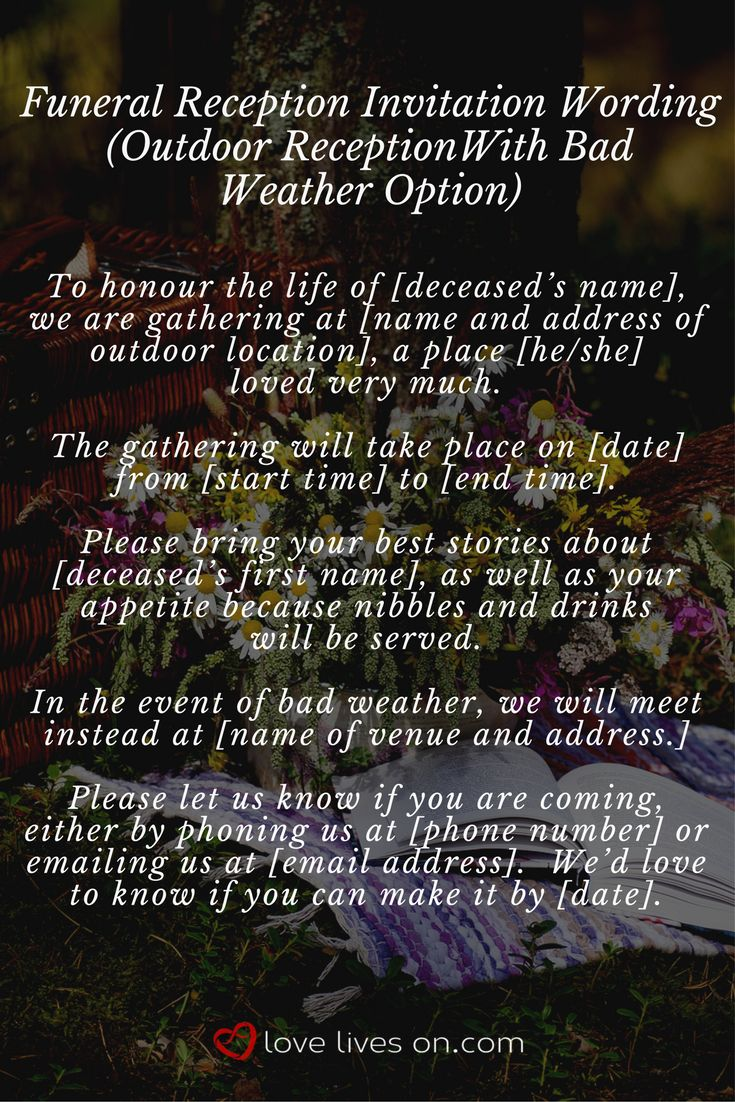 35 best Funeral Reception Invitations images on Pinterest ...