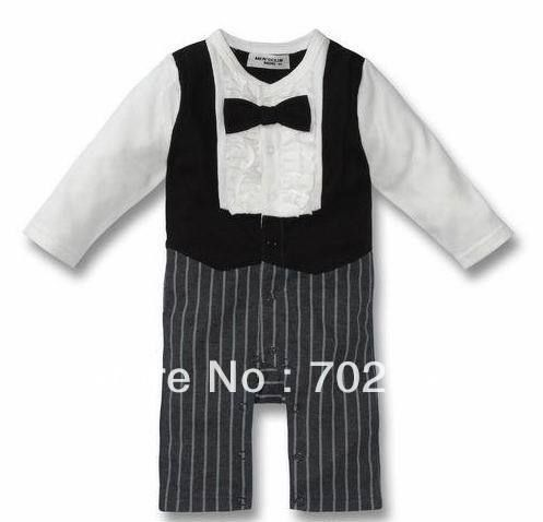 Комбинезон детская одежда мальчик с длинным рукавом бантом джентльмен смокинг ползунки
