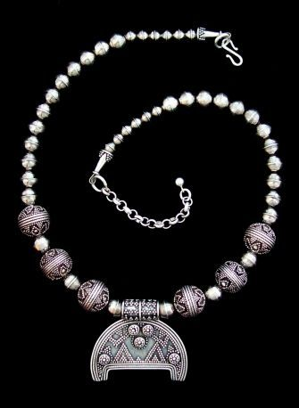 "Birka Lunik Necklace, Granulated Birka Lunik and Beads Approx. 15 1/2"" to 17 1/2"" long One-of-a-kind Piece  Sterling Silver ... $295"