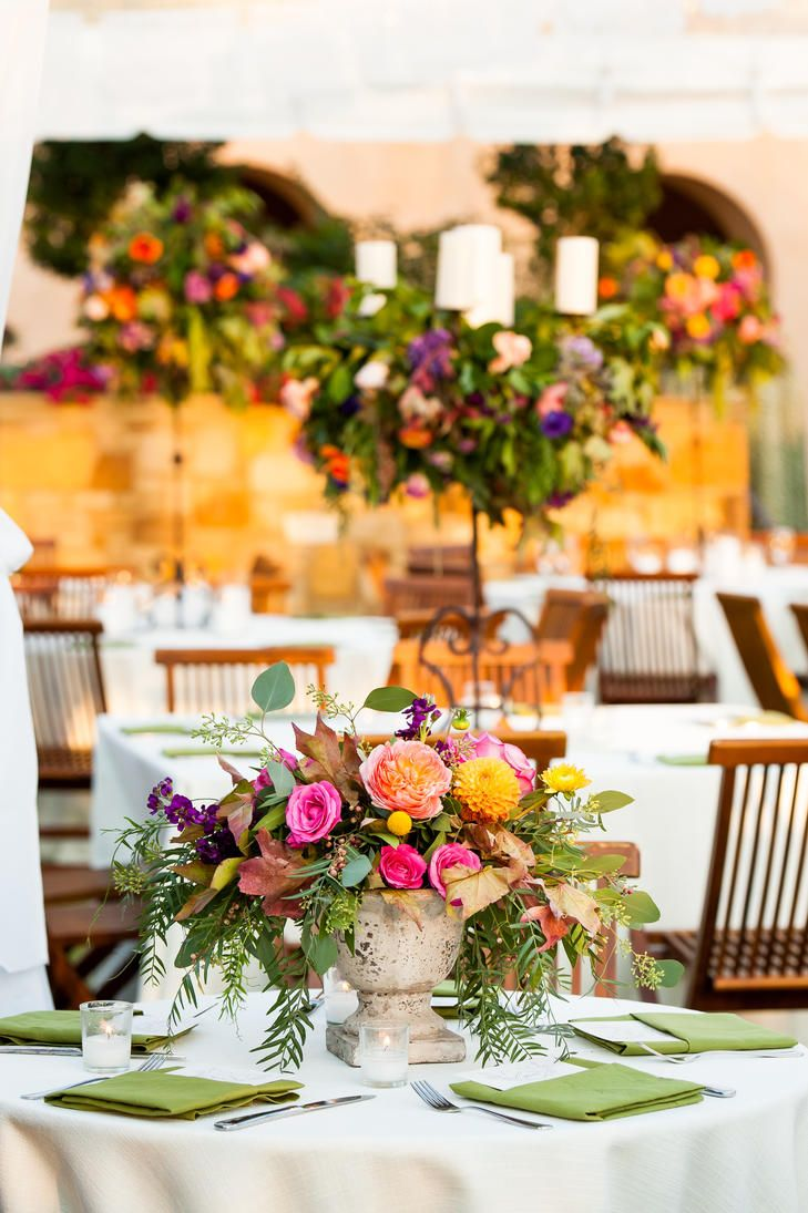 Bold Floral Centerpieces at the Southwestern-Themed Reception