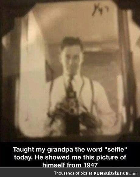 Old school selfie!... It's been around forever. Kids just renamed it. Lol