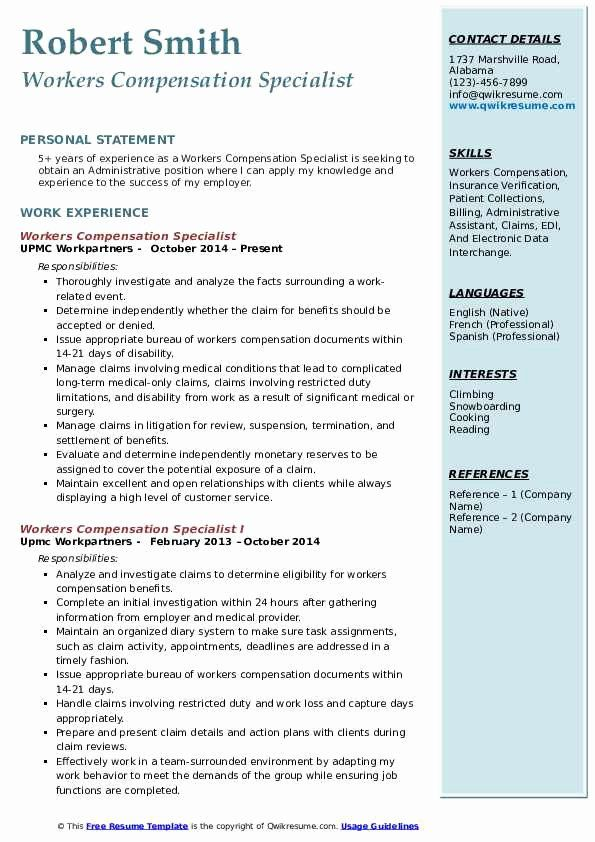 Insurance Verification Specialist Resume Awesome Workers Pensation Specialist Resume Samples In 2020 Business