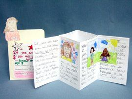 These structures—3D booklets tucked into quirky, re-purposed library card pockets—make it added fun for kids to step into the role of reviewer.