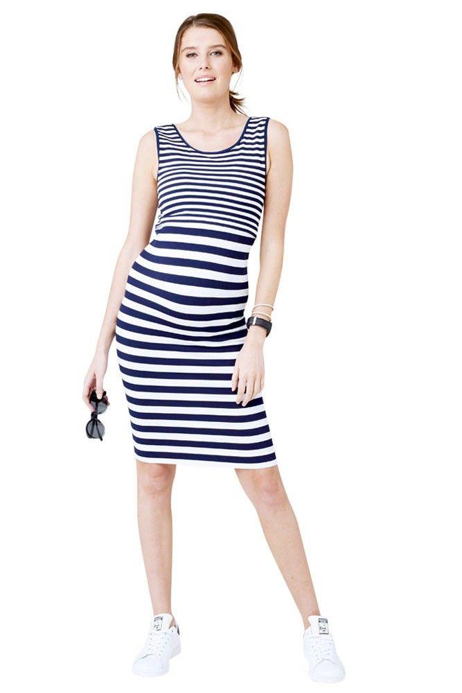 Norah Seamelss Striped Maternity & Nursing Dress in Navy & White Stripes