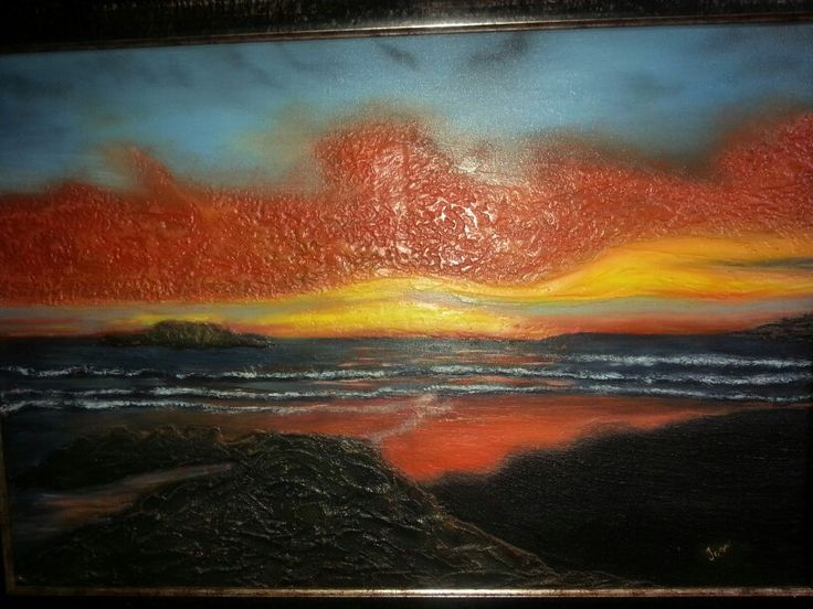 Blouberg sunset in oils