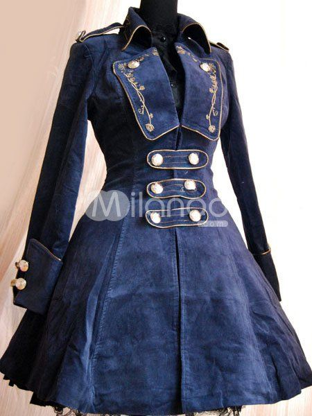 Stylish Blue Velvet Chain Button Long Sleeve Lolita Coat.  Via Milanoo