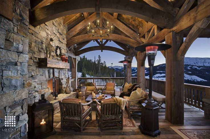 Country Porch with Outdoor Chandelier, Exposed beam ceiling, Faux Wood Beams Arched Heritage Beam, Exterior stone siding