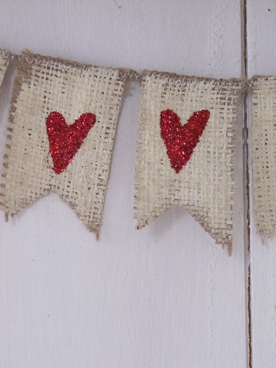 Valentine Hearts Mini Burlap Banner Valentines Day by funkyshique, $16.00-LOVE glitter heart