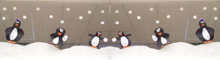 Pinguïn raamdecoratie: klas / winter / kerst.