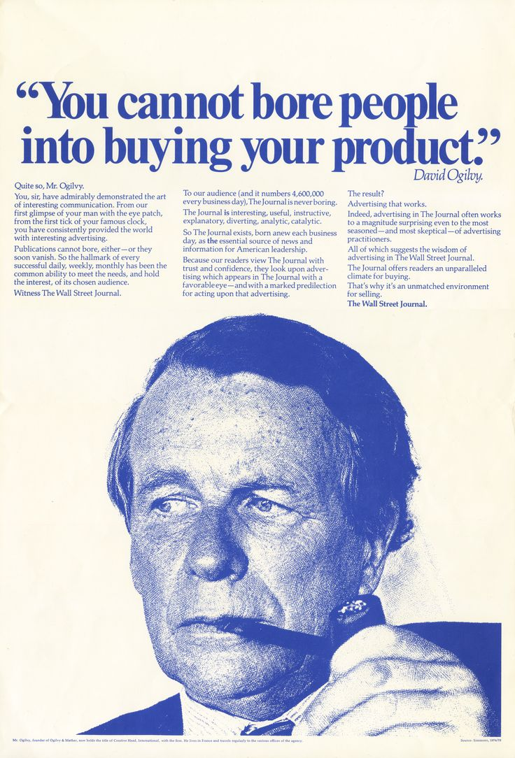 """You cannot bore people into buying your product."" -David Ogilvy #PrintAd #OgilvyArchive"