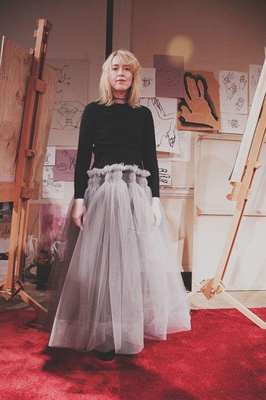 Grey tulle skirt and black polo neck by Molly Goddard AW15. More Molly Goddard: http://www.dazeddigital.com/fashion/article/23733/1/molly-goddard-aw15