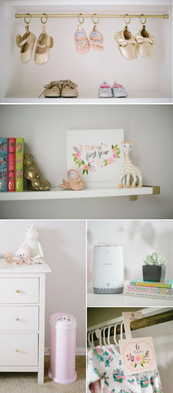 If your little bundle of joy's closet is brimming with miniature Clarks shoes, tiny outfits, and teeny accessories, get organized with these adorable nursery and closet organization ideas. Hanging your little one's baby shoes on clips is such an easy way to keep track of all of baby's stylish shoe options!