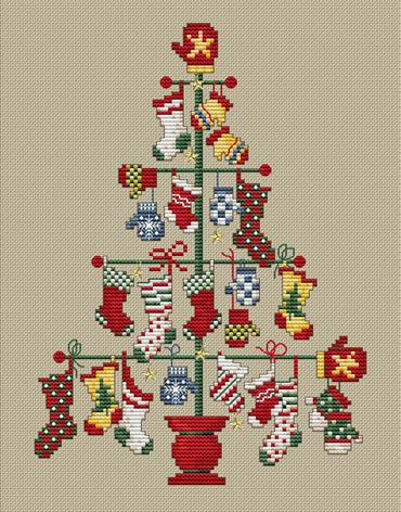 Sue Hillis Pair Tree - Cross Stitch Pattern. Mis-matched stockings and mittens adorn this unique Pair Tree! Model stitched on 14 Ct. Summer Khaki Aida with DMC