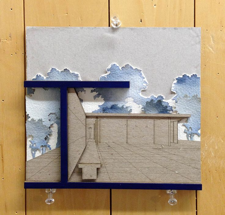 "Fabricated drawing project from UTSOA Assistant Professor Danelle Briscoe's advanced visual communications class, ""Design Drawing & Fabrication"" - Work by Jessica King - Architectural collage"