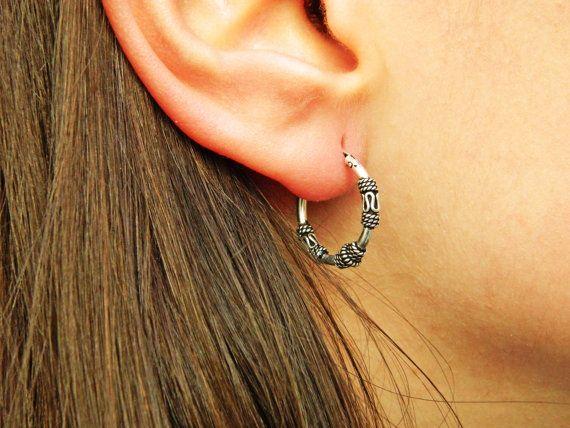 15X18 mm Sterling Silver Hoop Earrings  Silver Hoop