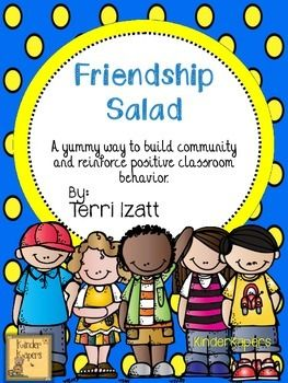 This is a yummy way to create classroom community while reinforcing positive behaviors.Included is a recipe for Friendship Salad and the story to relate it to those classroom behaviors you want to encourage in your classroom.  Also included are a poster you can use as an anchor chart, pages for students to make their own poster.