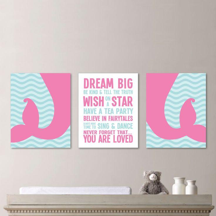 Baby Girl Nursery Art - Girl Nursery Decor - Girl Nursery Print - Mermaid Nursery Art - Mermaid Art - Mermaid Print - Pink Blue (NS-574) by RhondavousDesigns2 on Etsy