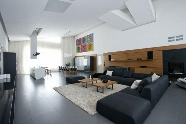 Loft Wohnung Sitzgelegenheiten Im Wohnzimmer Schwarz Ledersofa Gestaltungsideen Hohe Decke