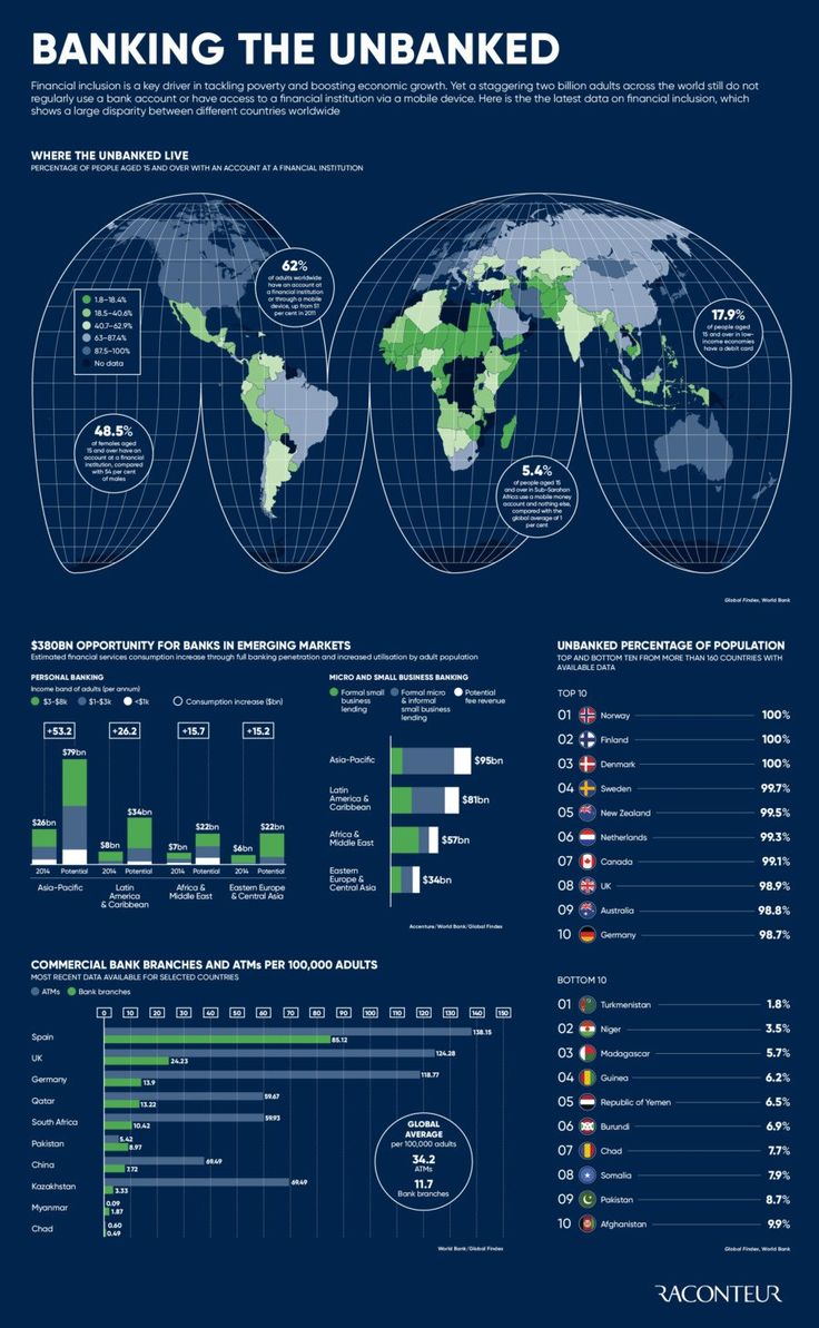 Financial Inclusion: Large disparity between different countries worldwide [Infographic]
