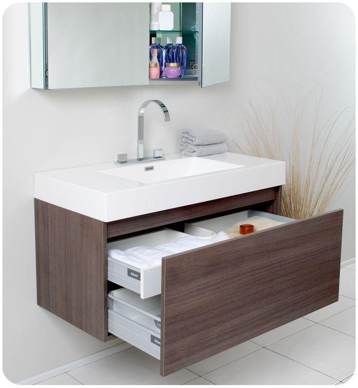 Fresca Mezzo Gray Oak Modern Bathroom Vanity W/ Medicine Cabinet Free Faucet